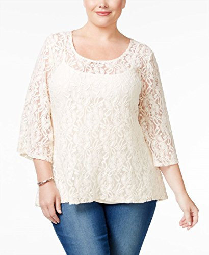 Style & Co. Womens Plus Three-Quarter Sleeves Lace Shell Blouse Ivory - Top Ivory Shell