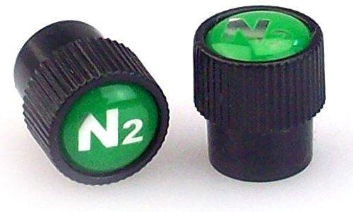 SKU 510-500 Pak Nitrogen Valve Caps Black Grooved Sidewal ABS With N2 Logo Complete with Inner Silicone Seal Nitrogen Valve Caps dot Com