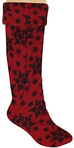 Capelli New York Printed Snowflake Fleece Ladies Tall Rain Boot Liner Red Combo Large