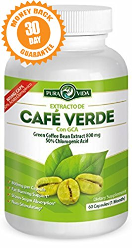 Green Coffee Bean Extract with GCA | Extracto de Café Verde con GCA: Pure Candid Appetite Suppressant — 50% Chlorogenic Acid. 60 Veggie Capsules of 800mg