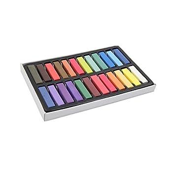 eDealMax 24pcs 4.2cm Longitud del arco iris de Los Colores DIY Tiza Temporal del Cabello
