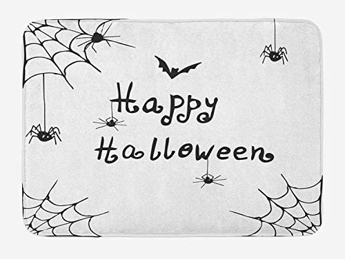 Spider Web Bath Mat, Happy Halloween Celebration Monochrome Hand Drawn Style Creepy Doodle Artwork, Plush Bathroom Decor Mat with Non Slip Backing, 23.6 W X 15.7 W Inches, Black -
