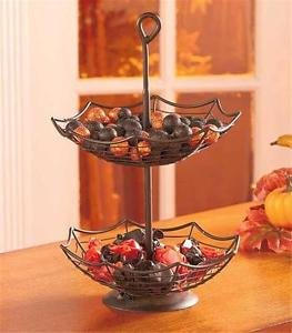 SPOOKY HALLOWEEN PARTY SPIDER WEB DESIGN TWO-TIER SERVING BASKET (Halloween Party Designs)
