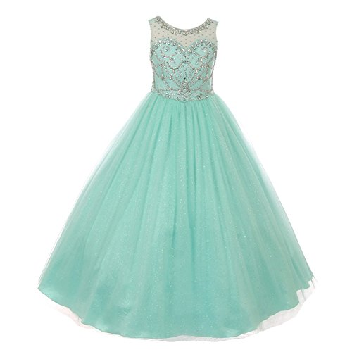 Cinderella Couture Big Girls Mint Crystal Beading Glitter Tulle Floor Length Pageant Dress 14