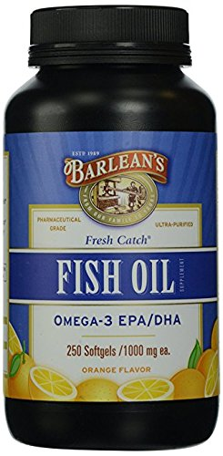Barlean's Organic Oils Fresh Catch Fish Oil, Omega-3, Orange Flavor, 4Pack (250-Softgels ) Nksl3hk
