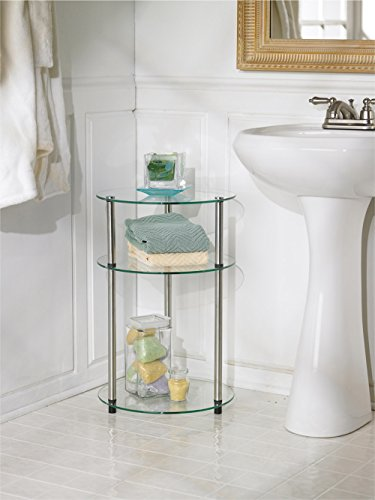 Convenience Concepts Designs2Go Go-Accsense 3-Tier Round Glass Side Table, Clear Glass
