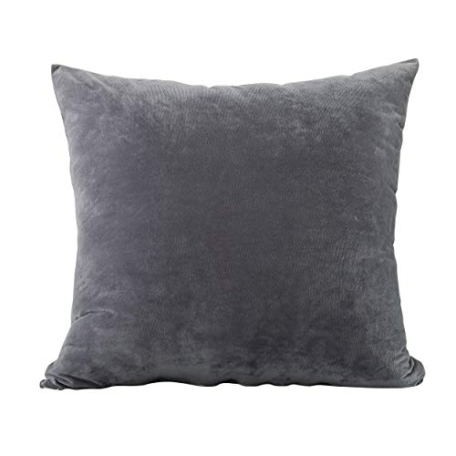 EVOLIVE Soft Micromink Euro Sham Cover Pillowcase Replacement with Zipper Closure (Grey, 26