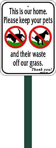 "4.5""x6"" w/2ft Steel Post Aluminum No Poop No Pee Lawn Sign"