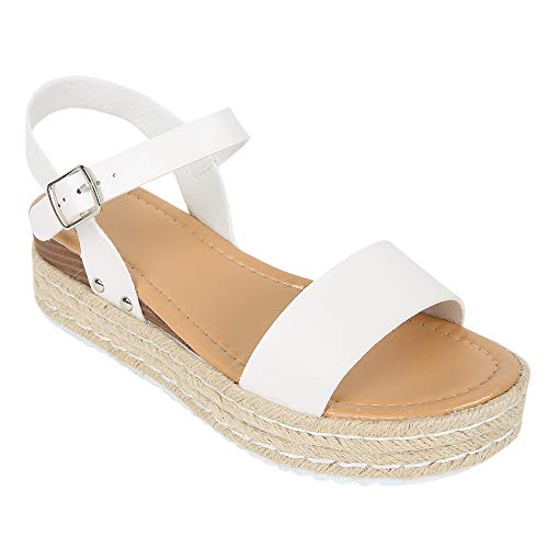 - LAICIGO Women's Flatform Espadrilles Ankle Strap Buckle Open Toe Faux Leather Studded Wedge Summer Sandals (6 B(M) US, 5-White)