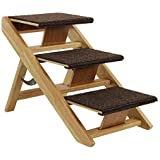 SwissPet Hundetreppe Hunderampe klappbar 40 cm hoch I 3-Stufige Treppe für Hunde I aus Holz Tiertreppe I Braun
