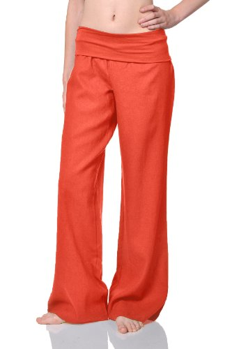- Beachcoco Women's Fold Over Comfortable Wide Linen Pants (S Long, Orange Coral)