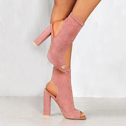 Juleya Women Block High Heel Sandals - Ladies Slingback Shoes 10cm Pumps Spring Summer Chunk Block Heels Ankle Boots Side Zipper Peep Toe Sandals Party Shoes 35-43 Pink HzMf7t0