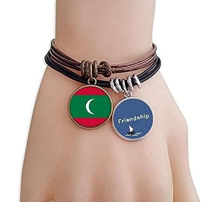 YMNW Maldives National Flag Asia Country Friendship Bracelet Leather Rope Wristband Couple Set Estimated Price -