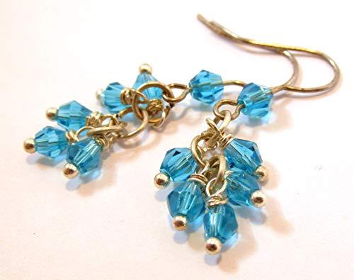 Tiny aqua blue glass beaded cluster earrings ()