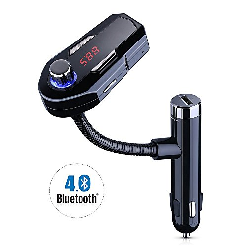 HIOTECH Wireless Bluetooth FM Transmitter Car Radio with USB Car Charger Hands-free Car Kit Music Player 2.1A for iOS Android Devices