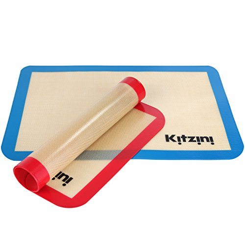 Safe Non Oven Mat Baking Stick - Silicone Baking Mat Set (2) Half Sheets - . Non Stick Cookie Sheets Professional Grade