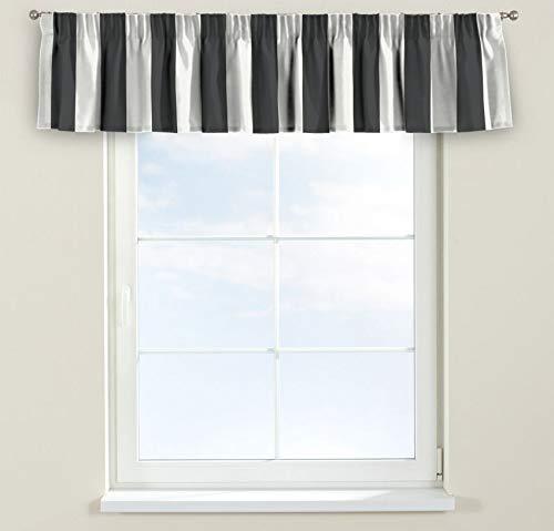 Dekoria Kurzgardine mit Kräuselband Schal Gardine Dekoschal 390 × 40 cm schwarz-weiß