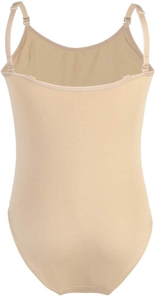 Soudittur Girls Ballet Dance Leotards for Gymnastics Nude Seamless Camisole Undergarment with Adjustable Straps