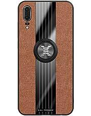 Fanxwu Cover Compatible con Funda Huawei Honor 20 Lite Ligero Tejido Case con 360 Grados Rotaria Kickstand Protección Resistente Anti-Huella Dactilar Carcasa - Marrón