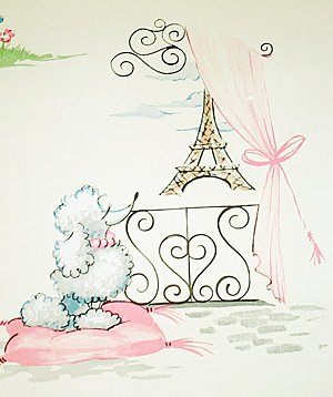 York Wallcoverings FRENCH Pink POODLE WALLPAPER Wall Paper Double Roll
