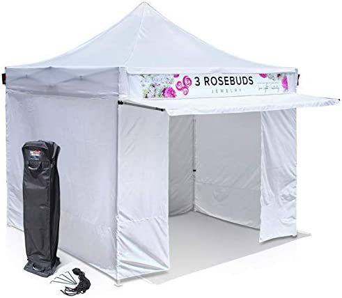 10 x10 Commercial Pop Up Canopy Tent with Wall Set and Awning