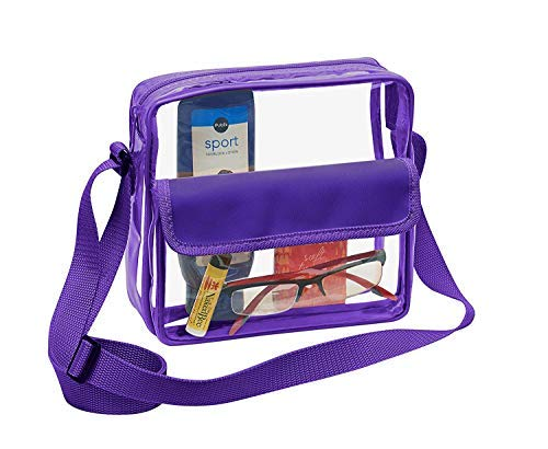 Clear Crossbody Messenger Shoulder Bag with Adjustable Strap NFL Stadium Approved Transparent Purse (Purple) (Best College Football Stadiums)