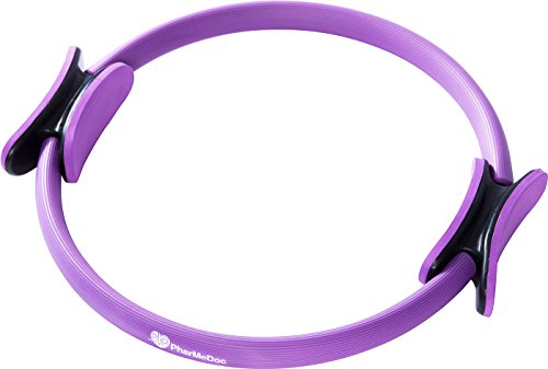 "PharMeDoc Pilates Ring 14"" Premium Exercise Fitness Circle to Sculpt, Shape, Burn Belly Fat & Tone Abs, Legs, Arms & Thighs Total Body Gym, Yoga Resistance Training Dual Grip Handles Purple"