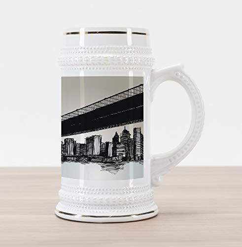 (Lunarable New York Beer Stein Mug, Scribbled Brooklyn Bridge and the Skyscrapers Illustration with Grunge Effect, Traditional Style Decorative Printed Ceramic Large Beer Mug Stein, Multicolor)