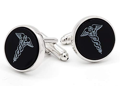 JJ Weston Caduceus Doctor Symbol on Onyx Cufflinks. Made in The USA ()