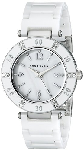 Anne Klein Women's 109417WTWT Swarovski Crystal-Accented White Ceramic Watch
