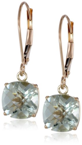 10k Yellow Gold Cushion-Cut Checkerboard Green Amethyst Leverback Earrings (8mm)