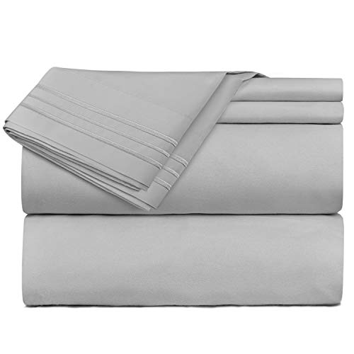 Nestl Bedding 5 Piece Sheet Set - 1800 Deep Pocket Bed Sheet Set - Hotel Luxury Double Brushed Microfiber Sheets - Deep Pocket Fitted Sheet, Flat Sheet, Pillow Cases, Split King - Silver ()