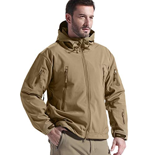 FREE SOLDIER Men's Jackets Outdoor Waterproof Softshell Hooded Tactical Jacket (Coyote Brown, Medium)