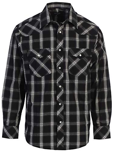 Gioberti Men's Western Plaid Shirt with Pearl Snaps, Black/Charcoal/Gray & White Highlight, Size X-Large