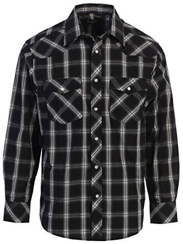 Gioberti Men's Western Plaid Long Sleeve Shirt, Black/Charcoal/Gray & White Highlight, Size 4X-Large