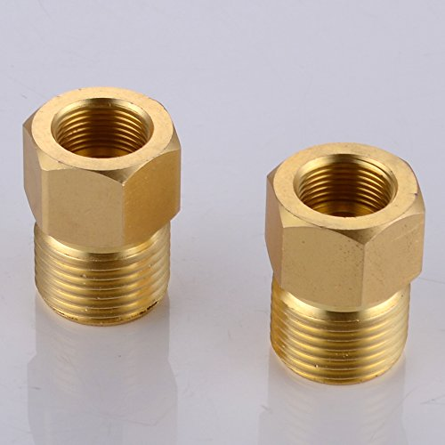 KES Faucet Supply Line Adapter 1/2 NPT Male to 9/16-24 UNEF Female Converter 2 Pcs, SOLID (Solid Brass Tubing)