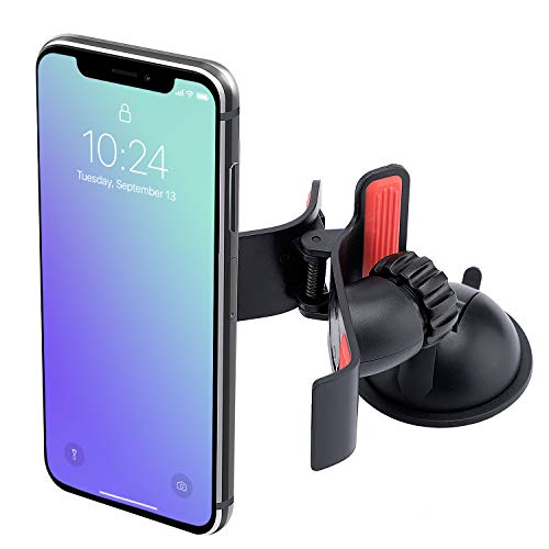 Universal Pro Phone Holder and Stand | Compatible with All Smart Phones | Easy Mount to Windshield, Monitors, Desks | Sticky Gel Pad with 360° Rotation | Great Gift