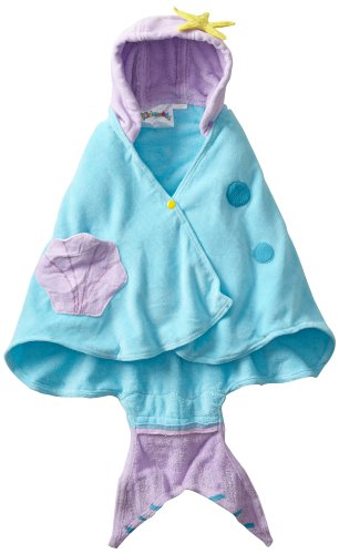 Kidorable Blue Mermaid All-Cotton Hooded Towel for Girls with Fun Fish Tail and Shells Ages 0-2
