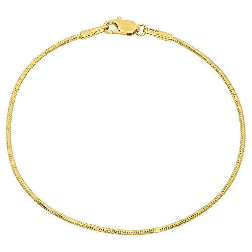 - The Bling Factory Thin 1.5mm 14k Yellow Gold Plated Diamond-Cut Snake Chain Bracelet, 8