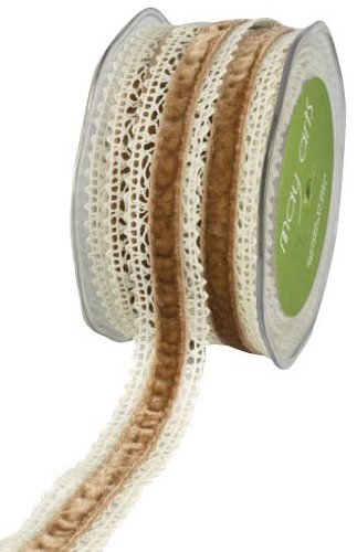 May Arts 1-Inch Wide Ribbon, Ivory Crochet with Antique Gold Velvet ()