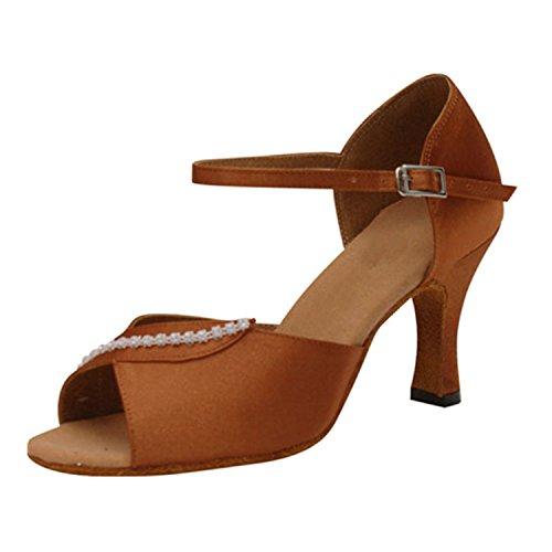 LEIT YFF Cadeaux Femmes Dance Danse Danse Latine Dance Tango Chaussures 7CM,Brown,34