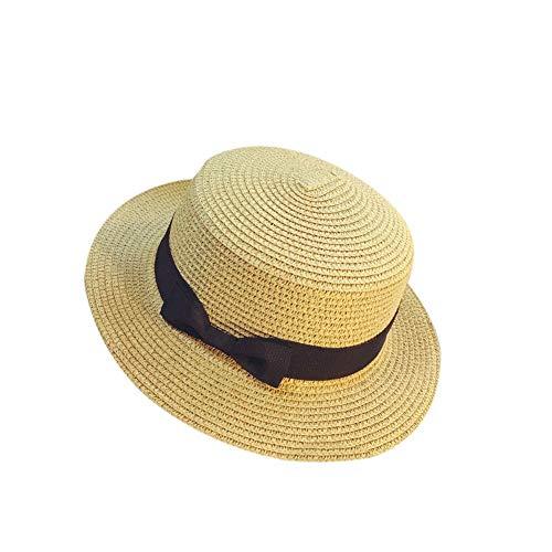 Bsjmlxg Unisex UPF50+ Protection Wide Brim Panama Bucket Fedora Beach Sun Hat Gangster Cap Straw Hat Bow Tie Band Sunhat Khaki