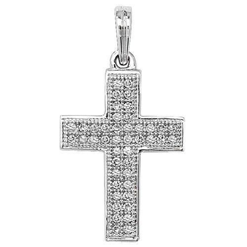 Serti de diamant pendentif croix or blanc 9ct méprendre Blanc SI2-I10.11Ct