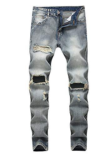 Agujero 1 Cintura Algodón Corte Color Versaces Ajustado Hombres Media Pantalones Jeans Lavado Heterosexual Ocio xqA6wHS4