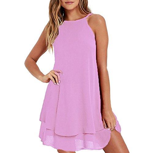 69213a50439 HGWXX7 Women Summer Casual Plus Size Solid Chiffon Strap Beach A-Line Mini  Dress