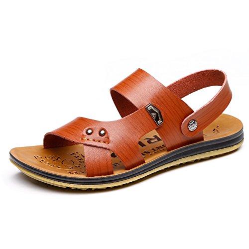 Xing Lin Sandales En Cuir LÉté De Nouvelles Chaussures Pour Hommes Chaussures Sandales De Plage Cool Chaussons En Cuir Casual Wear Bas Tendon De Boeuf Jour Humide ,43, Ultra-Vache Brune Tendons