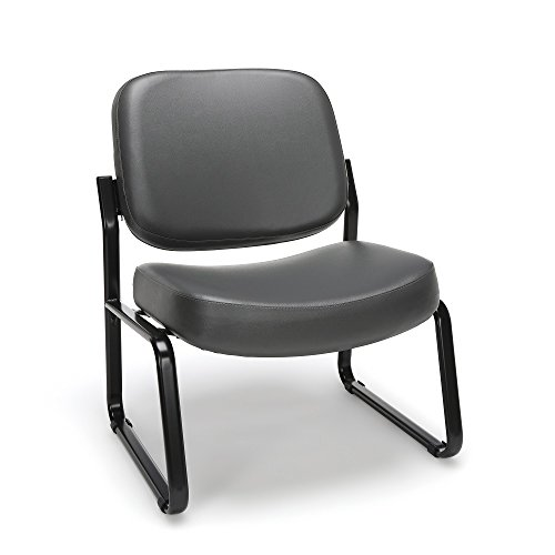 OFM Big and Tall Armless Reception Chair – Anti-Microbial Anti-Bacterial Vinyl Mid-Back Guest Chair, Charcoal 409-VAM