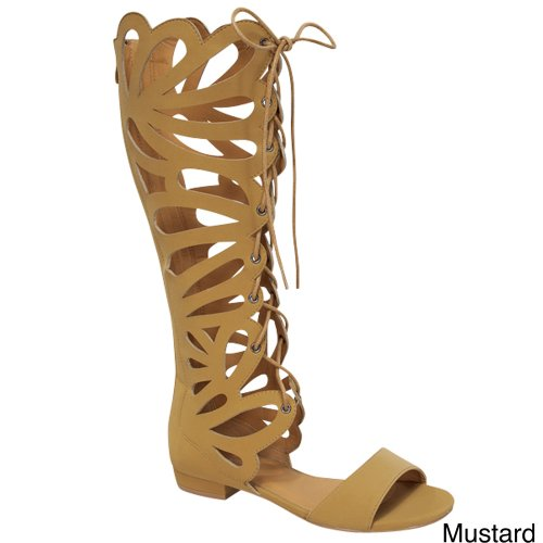 Forever Link Women's Caren-11 Gladiator Sandals,Mustard,6.5
