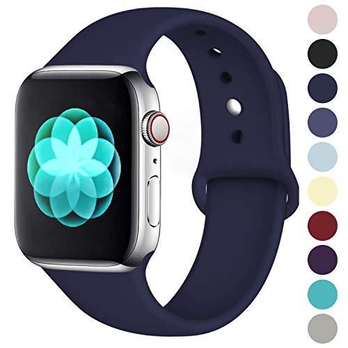 (ilopee Cute Bands Seamless Fit for iWatch Series 4 3 2 1 38mm 40mm, Navy Blue, S/M)