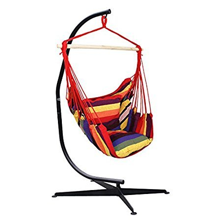 Outdoor Steel Hammock Stand (Super Deal C Frame Stand Indoor Outdoor Solid Steel Hammock Air Porch Swing Hanging Chair (Rainbow + Stand))
